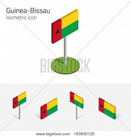 Republic of Guinea-Bissau flag vector set of isometric flat icons 3D style. African country flags. Editable design elements for banner website presentation infographic poster map card. Eps 10