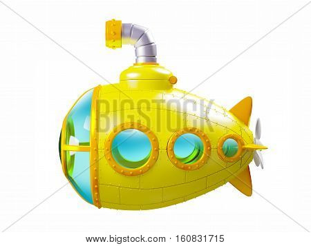 cartoon yellow submarine side view isolated on white. 3d illustration
