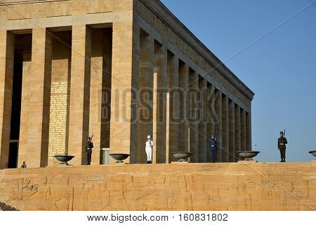 Ankara, Turkey. October 5Th 2016 - Honour Guards At The Ataturk Mausoleum, Anitkabir, Monumental Tom
