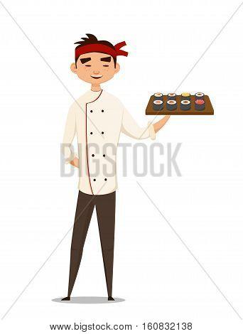 Sushi chef holding sushi. vector illustration. fun