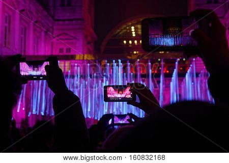 Lyon, France, December 8, 2016 : Lights Into The City Hall. The Festival Of Lights Stands In Lyon Ar