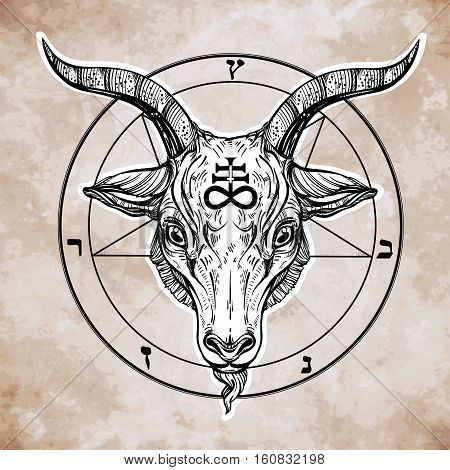 Pentagram with demon Baphomet. Satanic goat head. Binary satanic symbol. Vector illustration isolated. Tattoo design, retro, music, summer, print symbol for biker black metal themes.