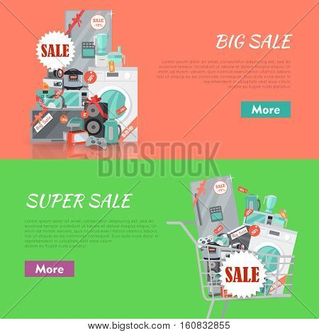 Big super sale banners set. Household appliances flat style. For electronics stores advertising. Purchase of equipment in Internet. Devices with red discount tags in cart trolley. Black friday. Vector