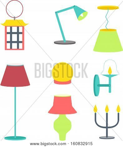 Set of different lamps. Furniture and floor lamps and table lamps. Vector illustration