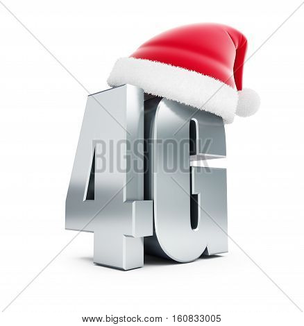 4G metal sign Santa Hat 4G cellular high speed data wireless connection. 3d Illustrations on white background