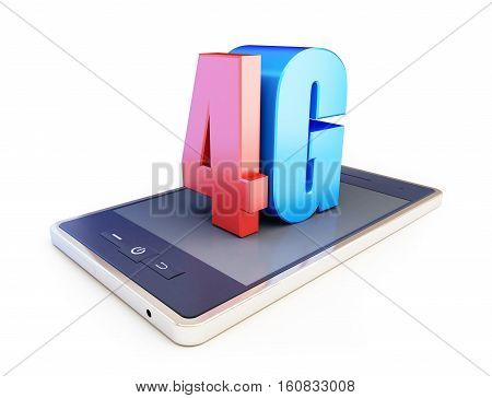 4g smartphone ang text 4g 4G sign 4G cellular high speed data wireless connection. 3d Illustrations on white background