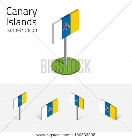 Canary Islands flag (Kingdom of Spain) vector set of isometric flat icons 3D style different views. 100% editable design elements for banner website presentation infographic poster map. Eps 10