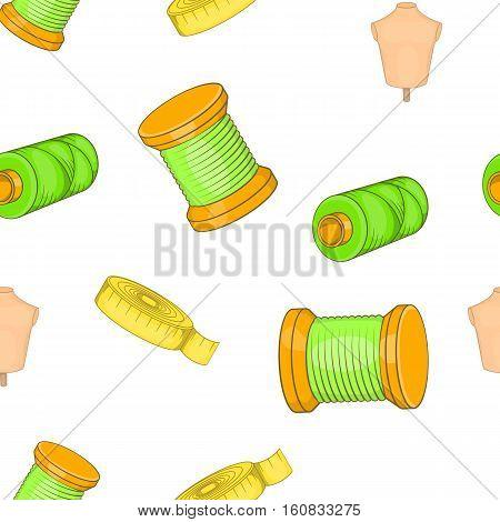 Sewing elements pattern. Cartoon illustration of sewing elements vector pattern for web