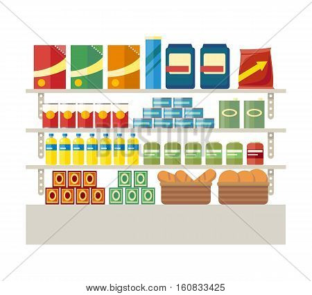 Supermarkets and grocery stores. Retail shop for buy product on shelf, purchase and department food, sale and cart with variety food, interior hypermarket section marketplace, vector illustration