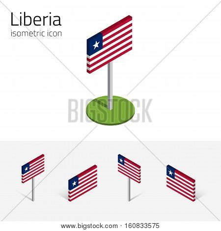 Liberian flag (Republic of Liberia) vector set of isometric flat icons 3D style. African country flags. Editable design elements for banner website presentation infographic poster map. Eps 10