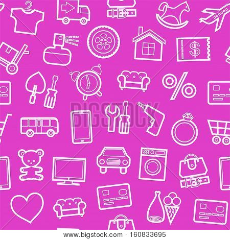 Categories of goods, Internet-shop, seamless pattern, pink. Vector white outline icons of industrial goods on a pink background. Plain, flat background.