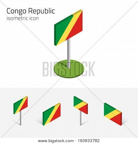 Congolese flag (Republic of the Congo) vector set of isometric flat icons 3D style. African country flags. Editable design elements for banner website presentation infographic card map. Eps 10