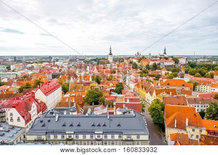 Aerial view on the old town of Tallin on the cloudy weather, Estonia