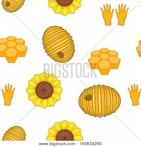 Beekeeping pattern. Cartoon illustration of Beekeeping vector pattern for web