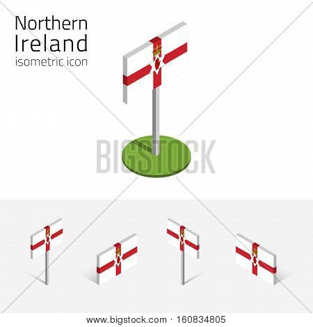 Flag of Northern Ireland (United Kingdom) vector set of isometric flat icons 3D style different views. Editable design elements for banner website presentation infographic poster map. Eps 10