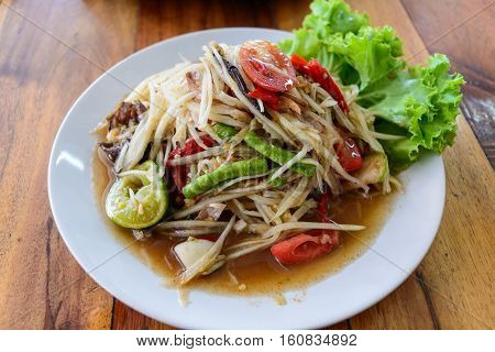 Som Tum Papaya salad with Pickled crab Thai food Thailand