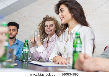 Business People Group Sit At Office Desk Meeting, Young Smiling Businesspeople Team Conference Discussion Project Mix Race People Cooperation