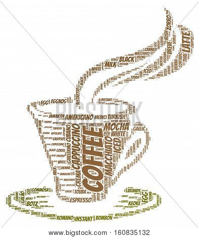 Coffee word cloud concept in shape of cup