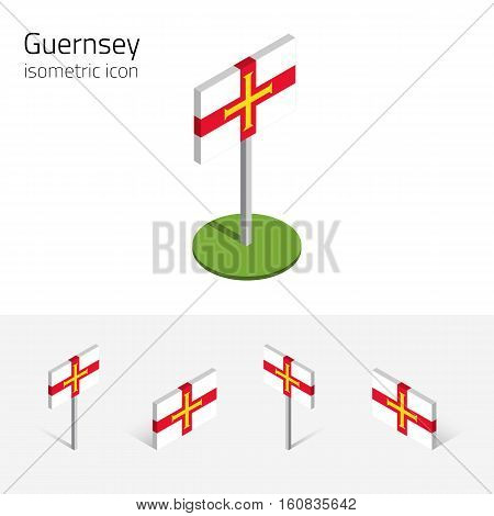 Flag of Guernsey (United Kingdom) vector set of isometric flat icons 3D style different views. Editable design elements for banner website presentation infographic poster map collage. Eps 10