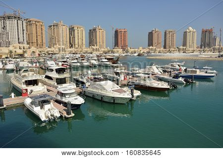 Harbour view in the Pearl precinct of Doha, Qatar.