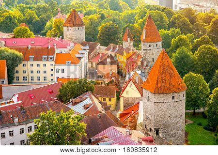 Aerial view on the fortification wall in the old town of Tallin, Estonia