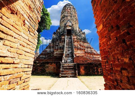 Ancient pagoda in the historic site of Ayuttaya province,Thailand.