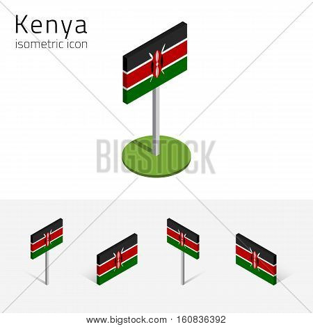 Kenyan flag (Republic of Kenya) vector set of isometric flat icons 3D style. African country flags. Editable design elements for banner website presentation infographic poster map card. Eps 10