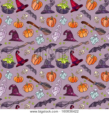 Vector decorative pumpkins, bats, ghosts, broom, caldrons and witch hats stained glass style for your design on light background.