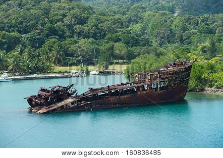 Rusty Sunken Ship Or Wreck