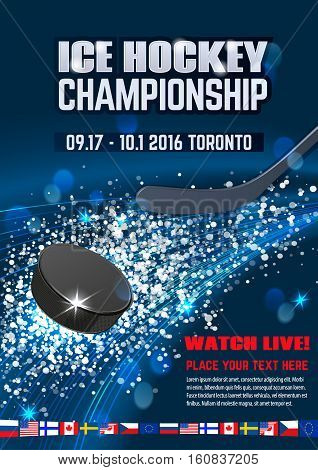 Ice explosion, abstract background. Board Empty Field Background Championship Toronto. Vertical poster.