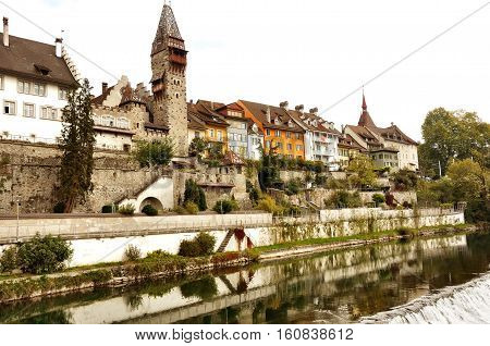 Bremgarten canton Aargau Switzerland - scenic panoramic view of the old town and Reuss river
