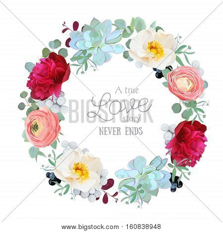 Seasonal mixed round frame with peony ranunculus succulents wild rose brunia blackberries and eucalyptus leaves. Vector design set. All elements are isolated and editable.