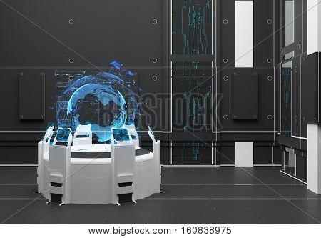 Render Futuristic interior. Hologram Earth. UI interface touchscreen poster