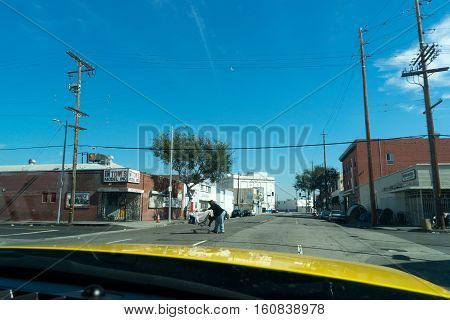 Los Angeles USA - September 28 2015: Homeless black man in skid row of Los Angeles.