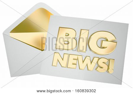 Big News Envelope Message Update Announcement 3d Illustration