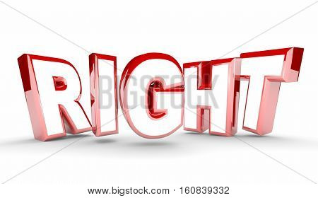 Right Red Word Letters Correct Accuracy 3d Illustration