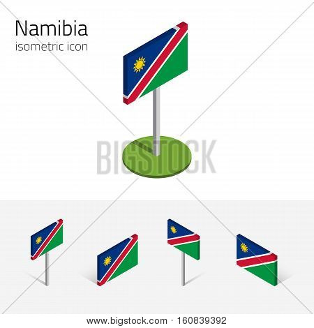 Namibian flag (Republic of Namibia) vector set of isometric flat icons 3D style. African country flags. Editable design elements for banner website presentation infographic poster map. Eps 10