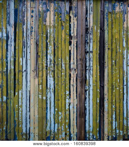 Colorful Horizontal Lines, Fence, Cracked Old Paint On Wood