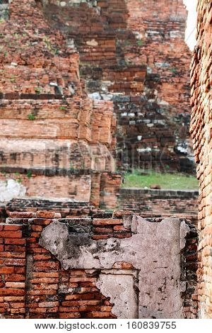 The old ruin of Mahathat templehistoric site in Ayuttaya provinceThailand.
