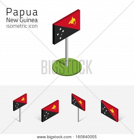 Papuan flag (ndependent State of Papua New Guinea) vector set of isometric flat icons 3D style different views. Editable design elements for banner website infographic poster map card. Eps 10