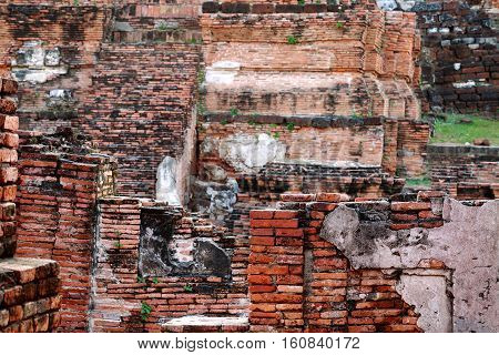 The old ruin of Mahathat temple in Ayuttaya province of Thailand.