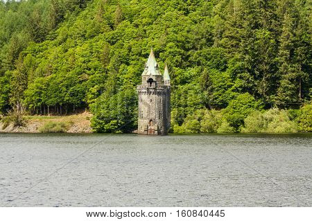 Lake Vyrnwy Reservoir And Straining Tower.