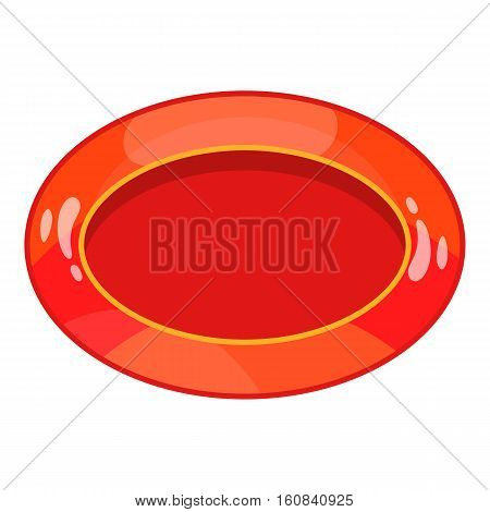 Oval red button icon. Cartoon illustration of oval red button vector icon for web