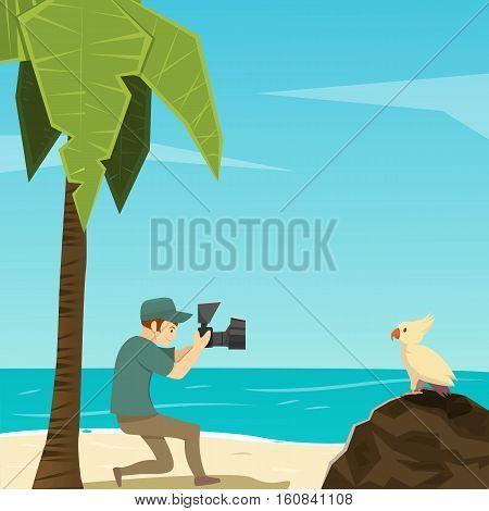 Flat cartoon image of male photographer taking photo of bird on tropical beach vector illustration