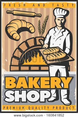 Colorful poster for bake shop in vintage style with baker character with trencher and bread vector illustration
