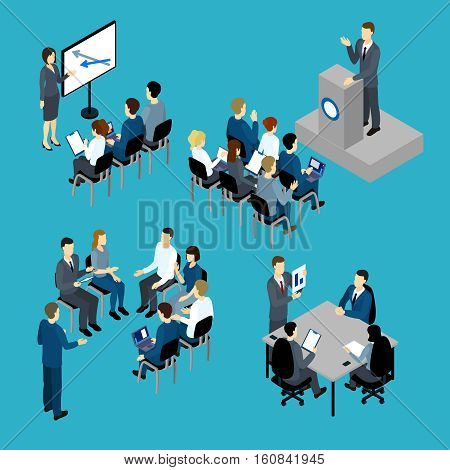 Business training isometric set with teachers and audience furniture and computers on blue background isolated vector illustration