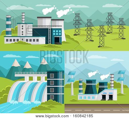 Set of two square and one horizontal ecology banners with orthogonal cartoon images of outdoor powerhouses vector illustration