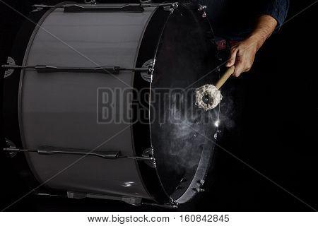 Drum Sticks Hit On The Bass Drum