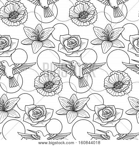 Seamless pattern with colibri and flowers on white background. Modern textile print