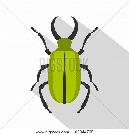 Green bug icon. Flat illustration of green bug vector icon for web